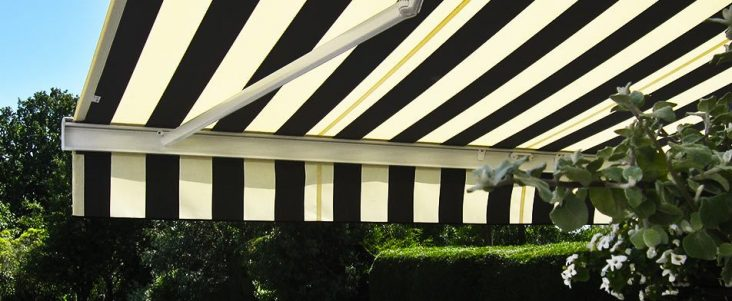 beige and black awning