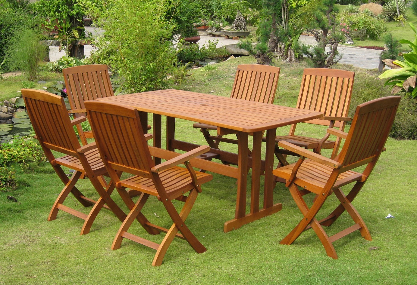 garden chairs and table wooden sun
