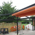 installation of garden shade orange