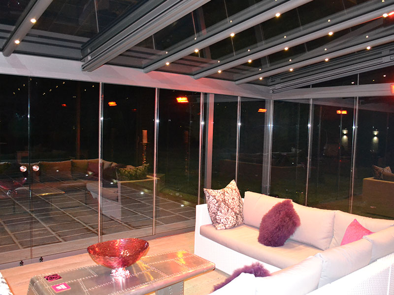 inside furnished glass room