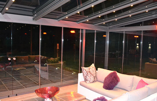 inside view of fitted glass room