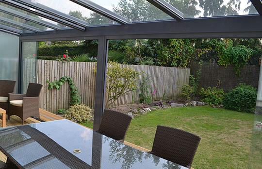 low view of glass veranda