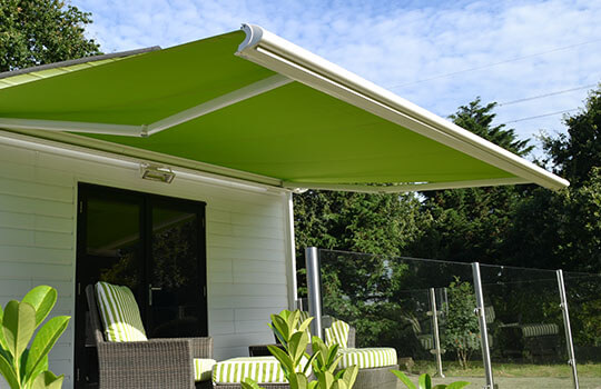light green garden awning summer house