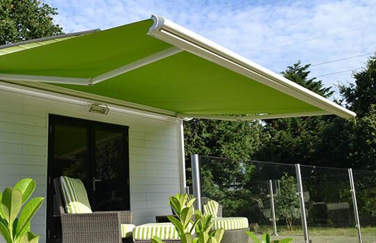 light green garden awning summer house