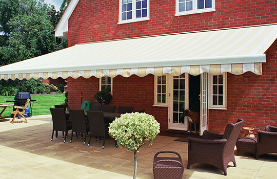 slopped stripped garden awning