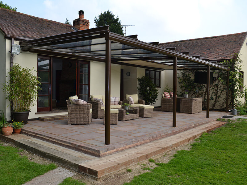 glass awning covering full patio