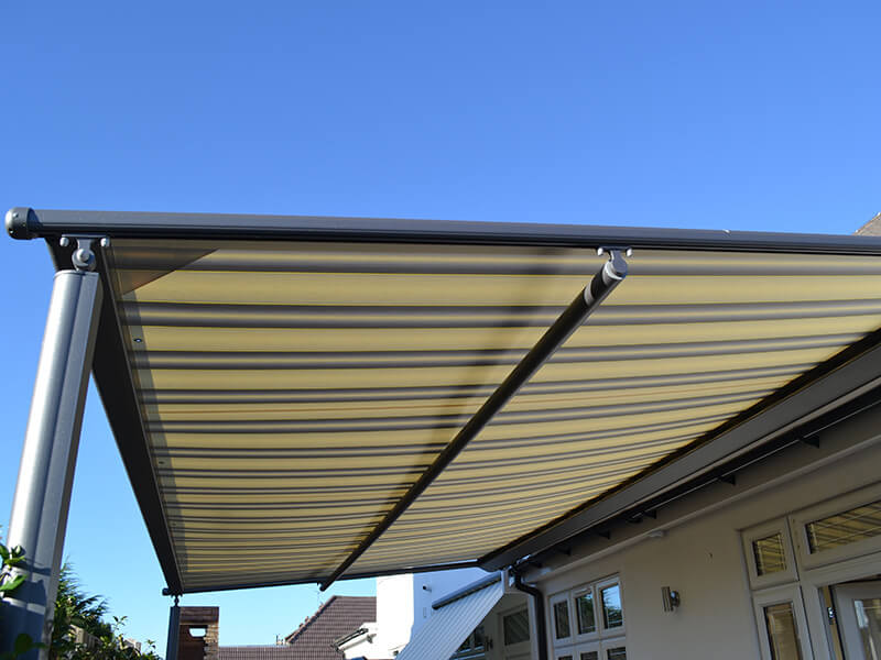 metal stripped awning
