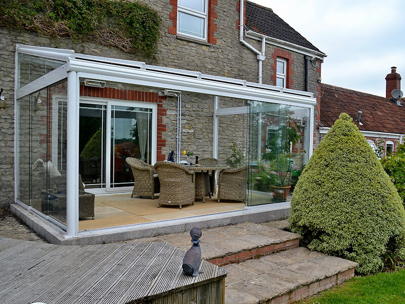 glass room attached to back of house