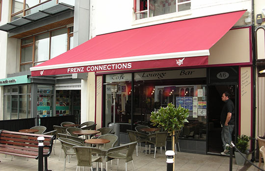 red commercial awning