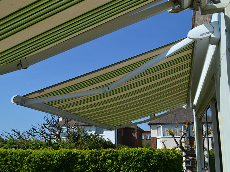 green stripped awnings